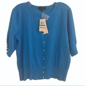🆕 SPENSE KNITS Blue Cardigan Pearl Buttons XL